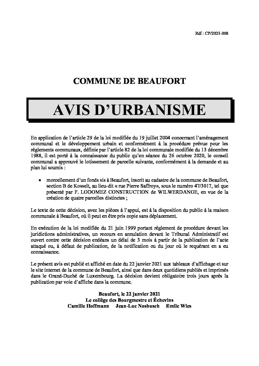 Avis morcellement rue Pierre Saffroy