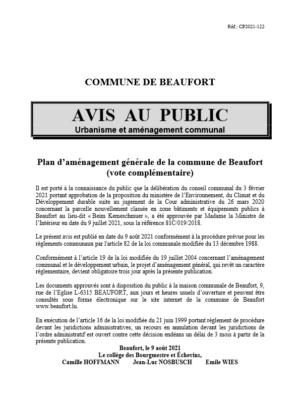 AVIS AU PUBLIC  PAG vote complémentaire 2021 approbation journaux