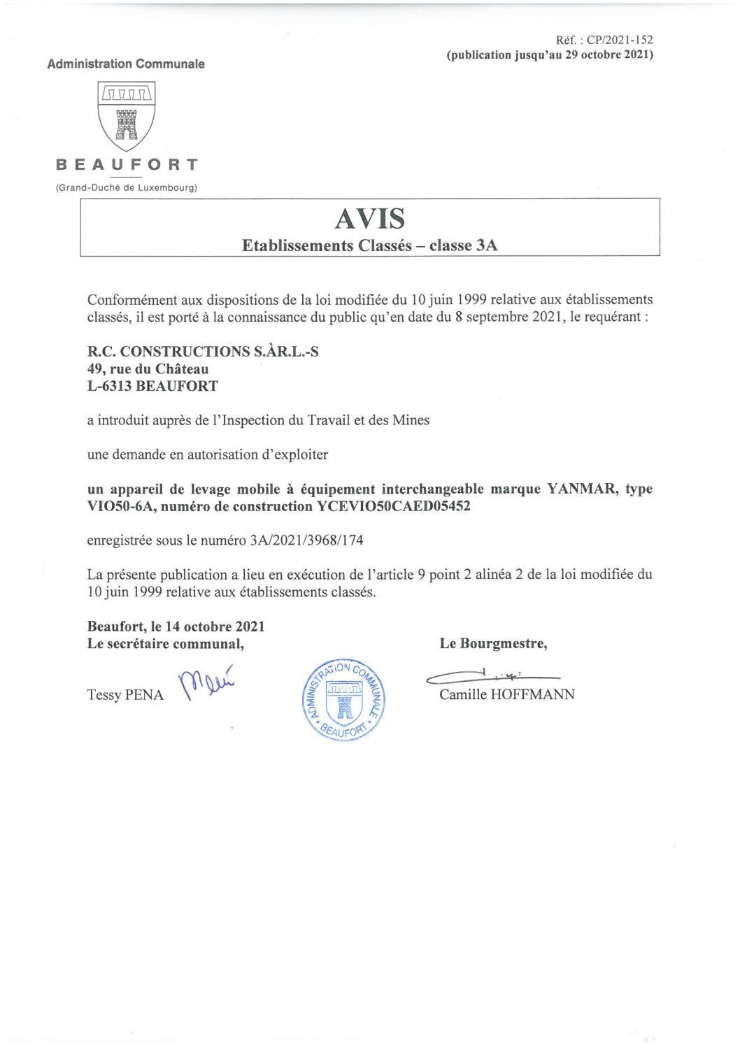 Demande d'autorisation pour l'exploitation d'un appareil de levage mobile